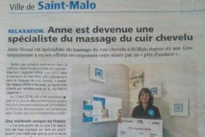 2018-06-21 Le Pays Malouin - Anne est devenue un spécialiste du massage du cuir chevelu