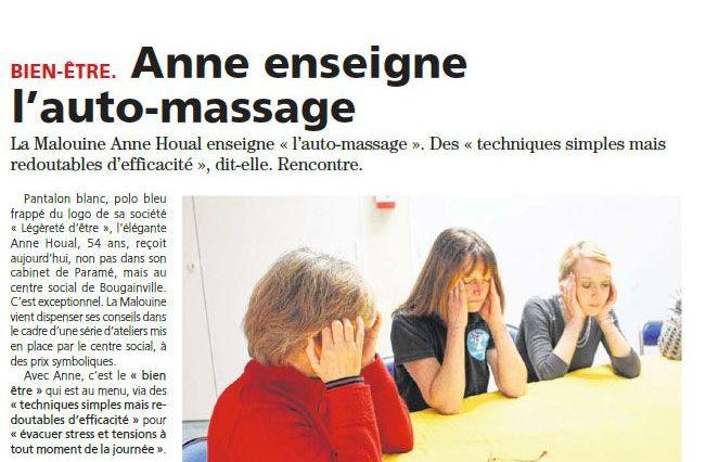 «Anne enseigne l'auto-massage» par Le Pays Malouin, article du jeudi 21 février 2019